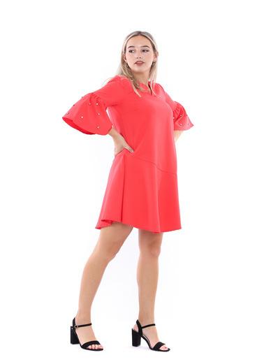 Sense V Yaka İspanyol Kollu Krep Elbise Mercan